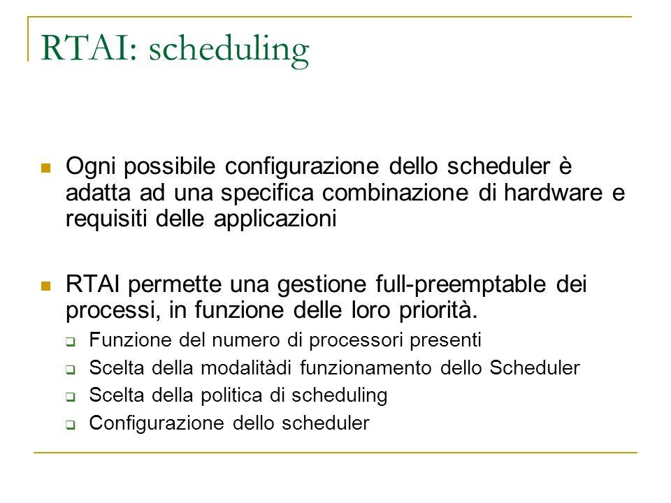 RTAI: scheduling Ogni possibile configurazione dello scheduler è adatta ad una specifica combinazione di hardware e requisiti delle applicazioni.