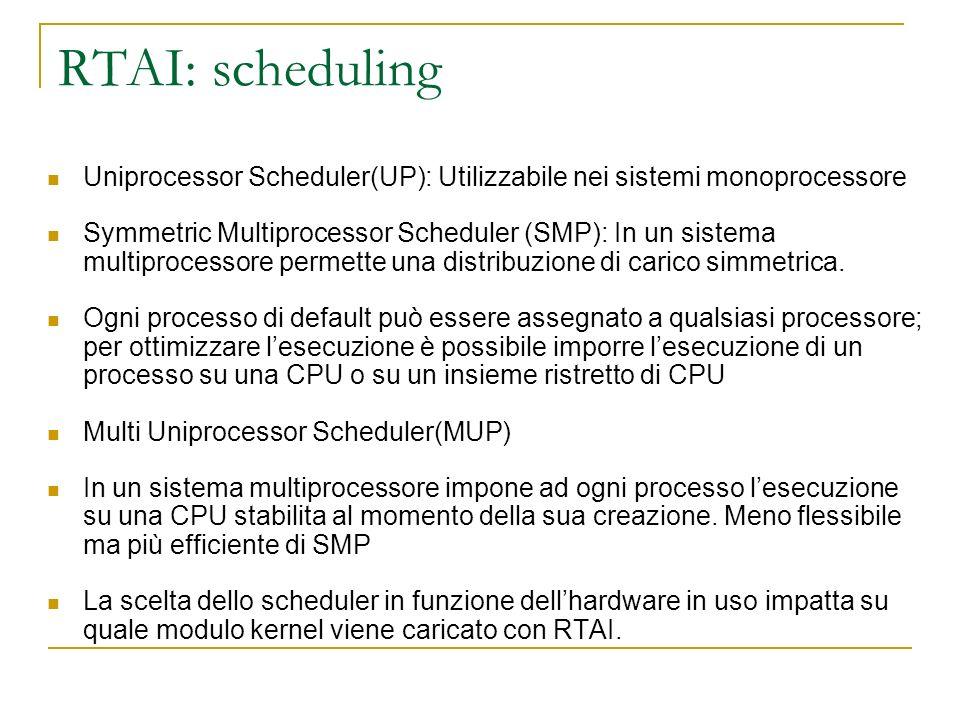 RTAI: scheduling Uniprocessor Scheduler(UP): Utilizzabile nei sistemi monoprocessore.