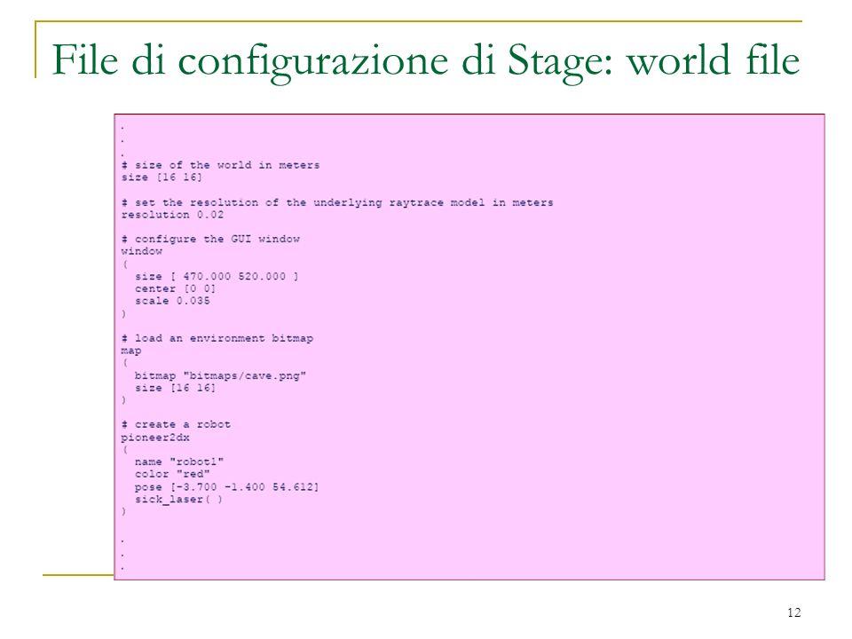 File di configurazione di Stage: world file
