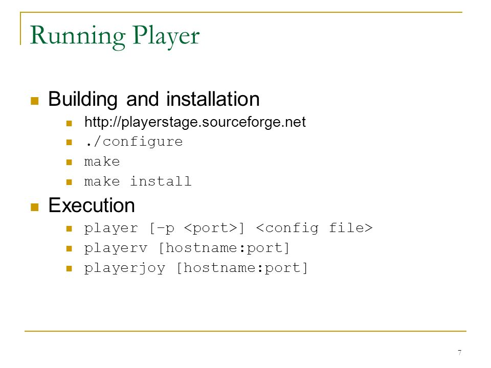 Running Player Building and installation Execution