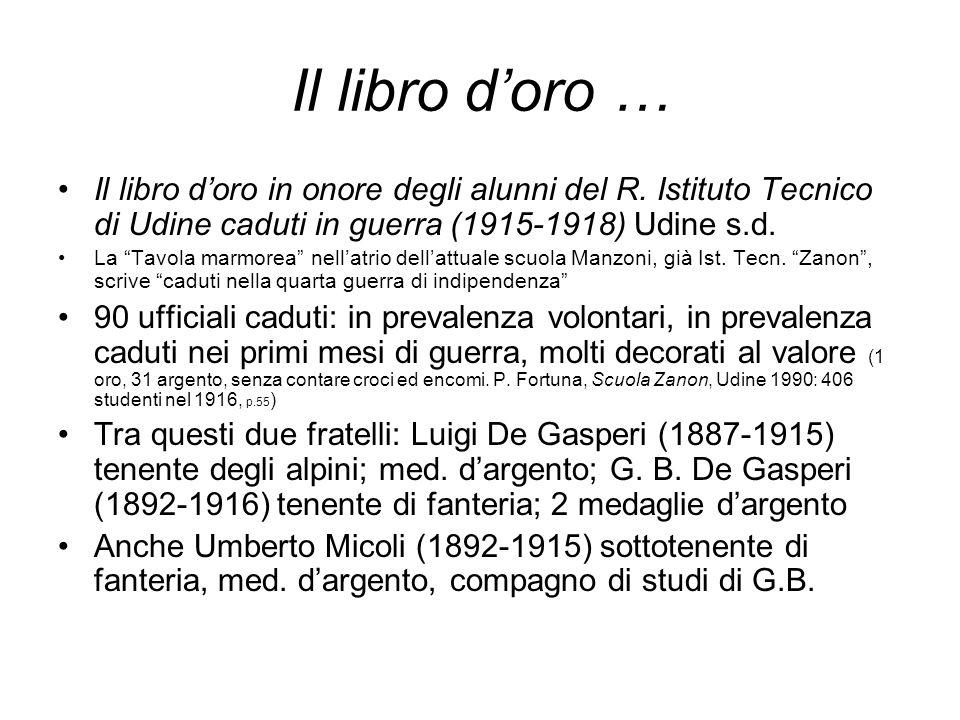 Il libro d'oro … Il libro d'oro in onore degli alunni del R. Istituto Tecnico di Udine caduti in guerra (1915-1918) Udine s.d.