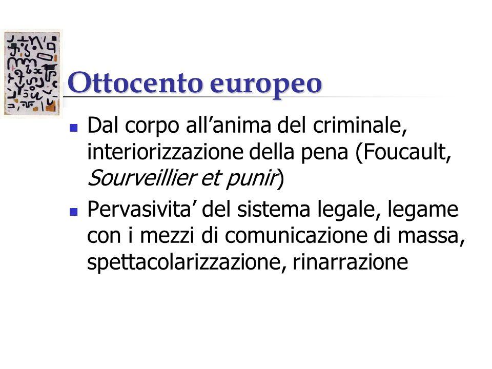 Ottocento europeo Dal corpo all'anima del criminale, interiorizzazione della pena (Foucault, Sourveillier et punir)