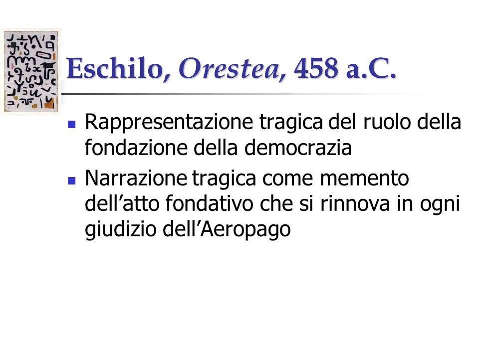 Eschilo, Orestea, 458 a.C. Rappresentazione tragica del ruolo della fondazione della democrazia.