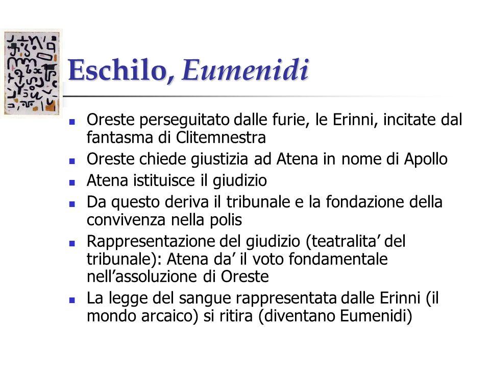 Eschilo, Eumenidi Oreste perseguitato dalle furie, le Erinni, incitate dal fantasma di Clitemnestra.