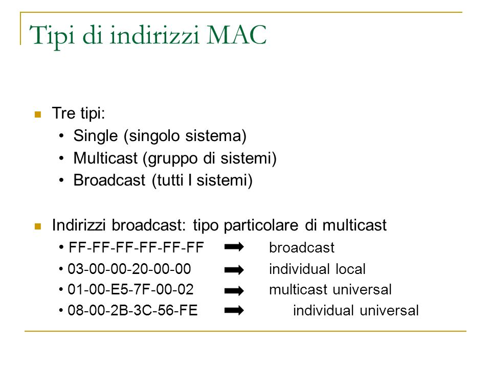 Tipi di indirizzi MAC Tre tipi: Single (singolo sistema)