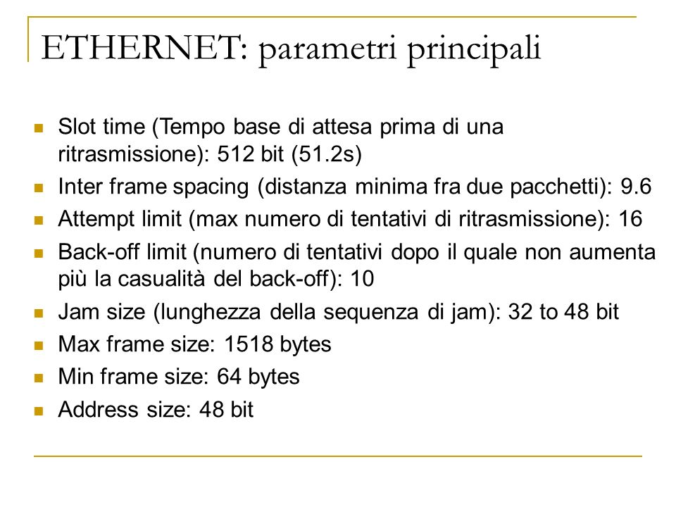 ETHERNET: parametri principali