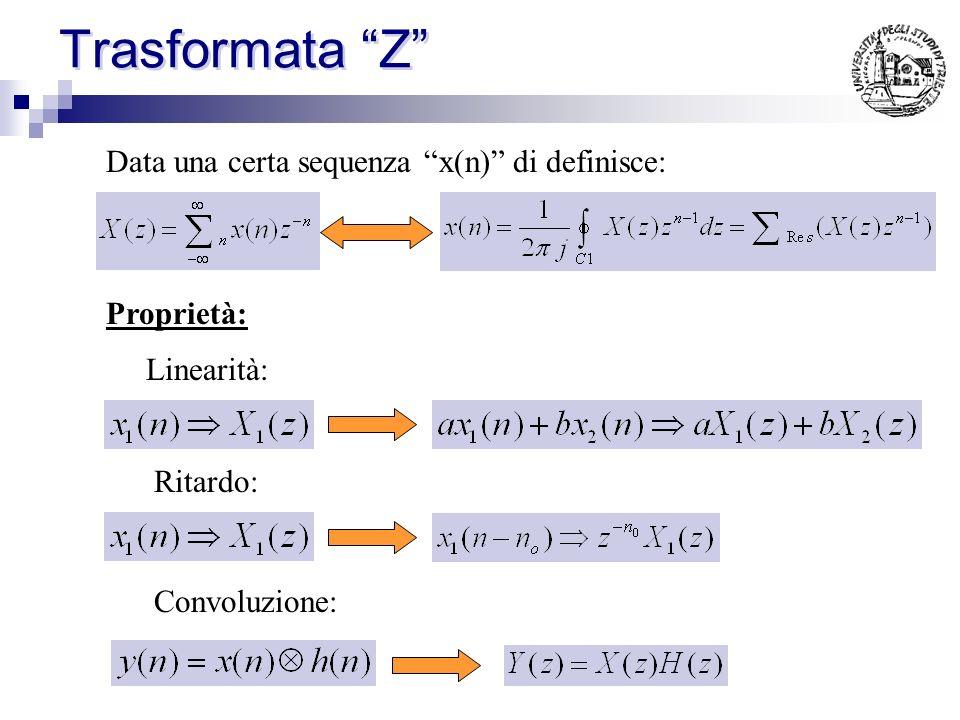 Trasformata Z Data una certa sequenza x(n) di definisce:
