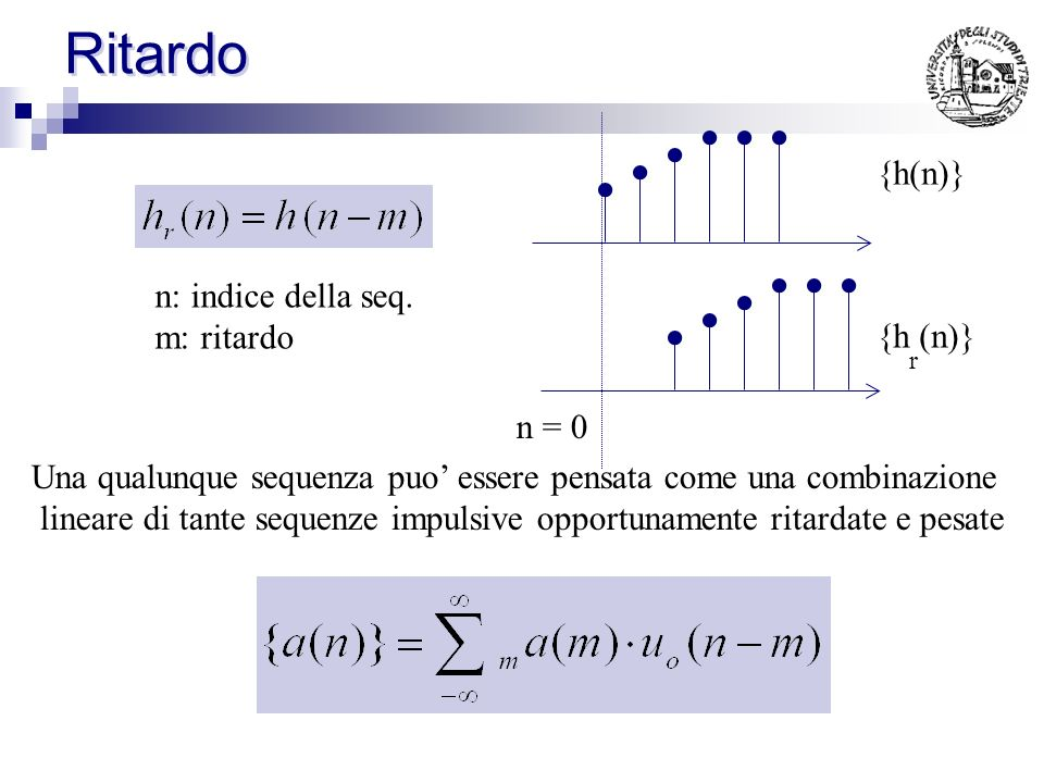 Ritardo {h(n)} n: indice della seq. m: ritardo {h (n)} n = 0
