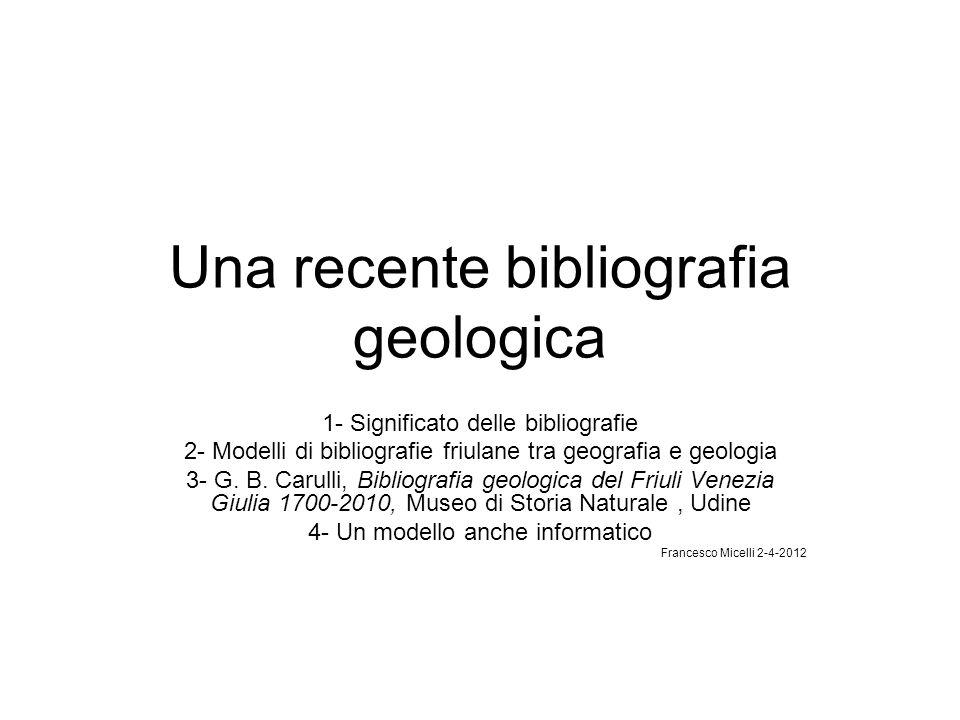 Una recente bibliografia geologica