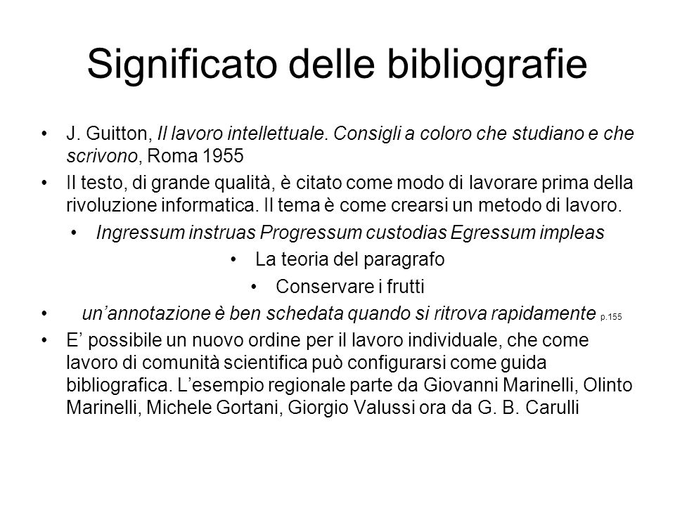 Significato delle bibliografie