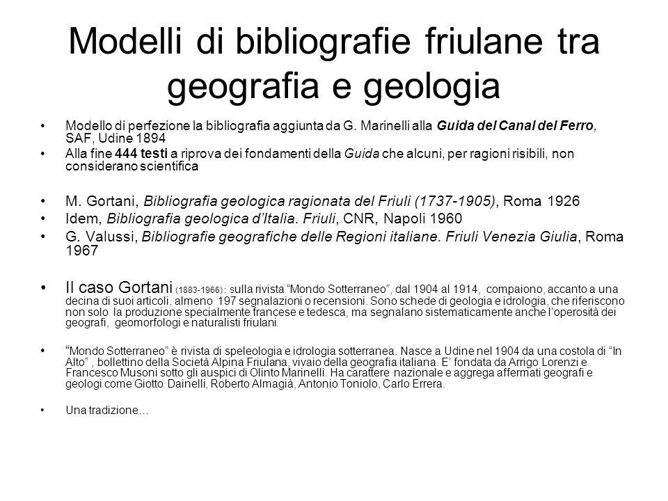 Modelli di bibliografie friulane tra geografia e geologia