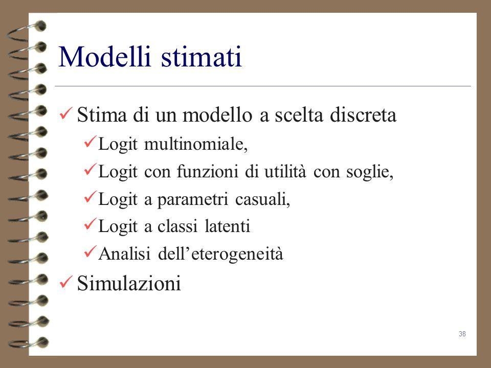 Modelli stimati Stima di un modello a scelta discreta Simulazioni