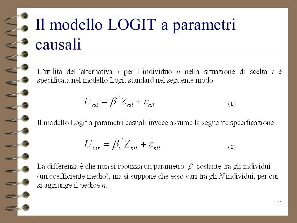 Il modello LOGIT a parametri causali