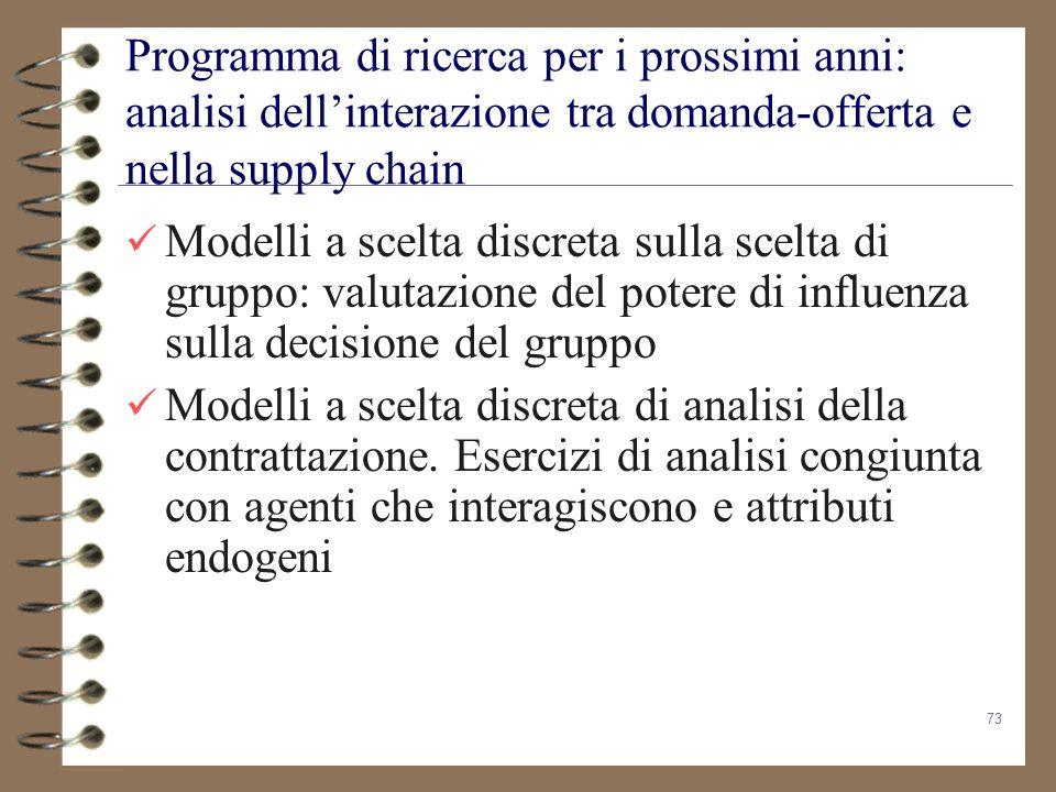 Programma di ricerca per i prossimi anni: analisi dell'interazione tra domanda-offerta e nella supply chain