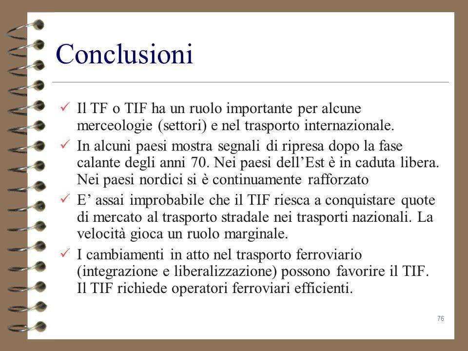 Conclusioni Il TF o TIF ha un ruolo importante per alcune merceologie (settori) e nel trasporto internazionale.