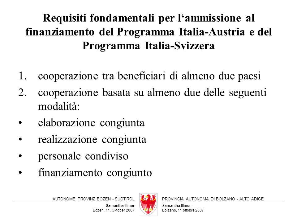 Requisiti fondamentali per l'ammissione al finanziamento del Programma Italia-Austria e del Programma Italia-Svizzera