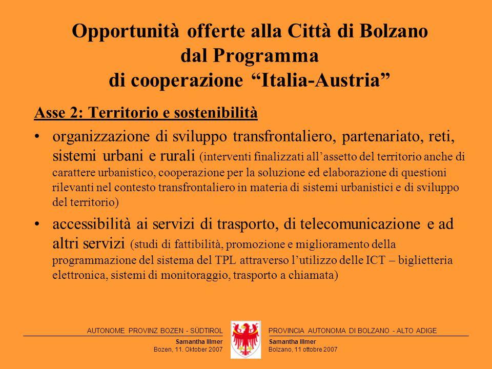 Opportunità offerte alla Città di Bolzano dal Programma di cooperazione Italia-Austria