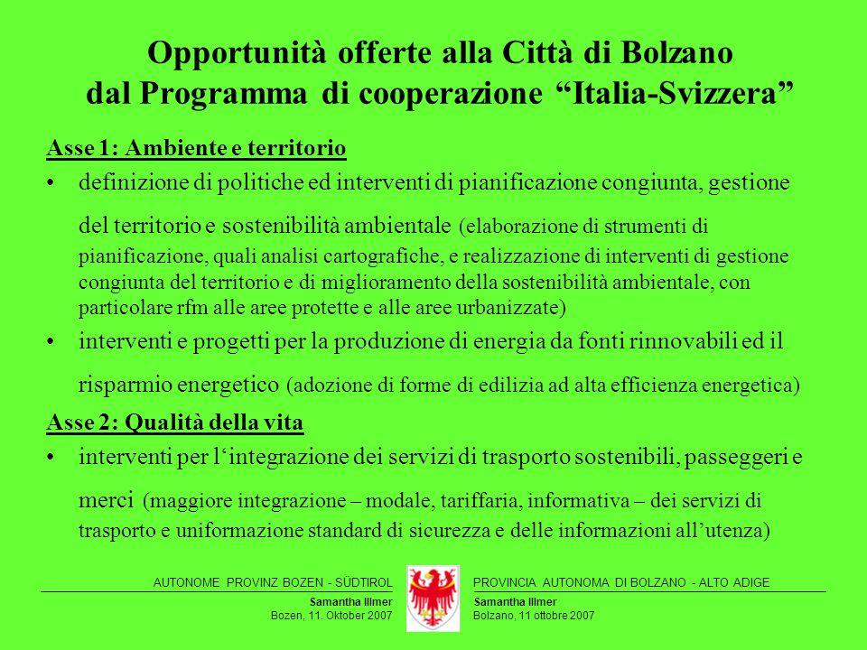 Opportunità offerte alla Città di Bolzano dal Programma di cooperazione Italia-Svizzera