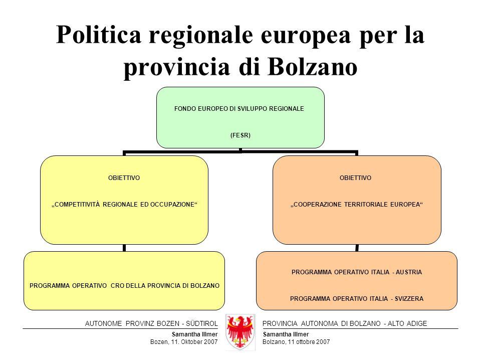 Politica regionale europea per la provincia di Bolzano
