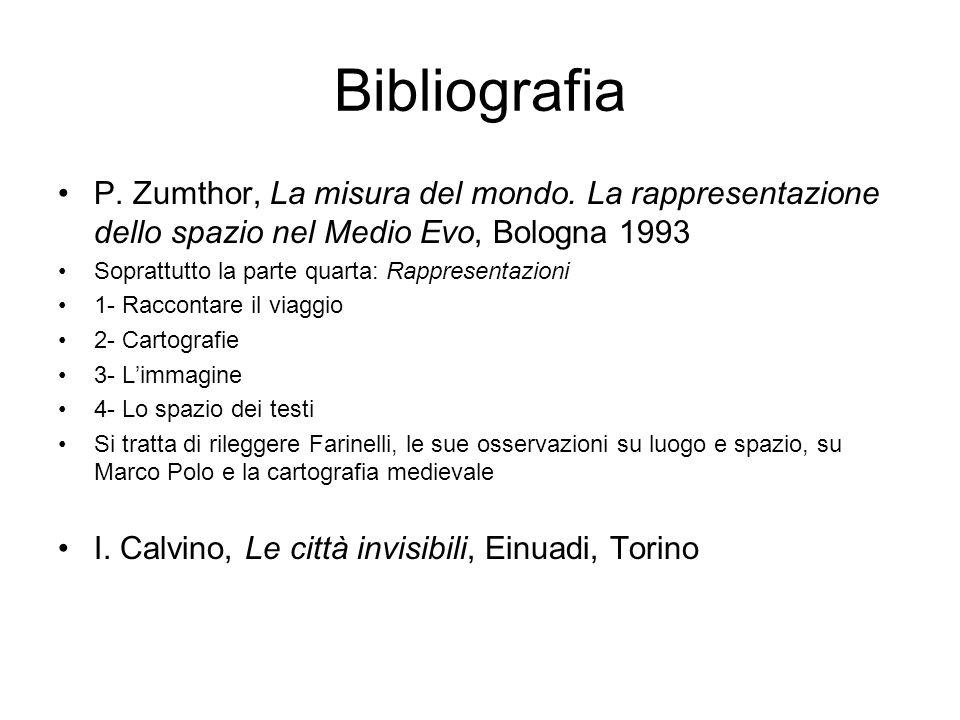 Bibliografia P. Zumthor, La misura del mondo. La rappresentazione dello spazio nel Medio Evo, Bologna 1993.
