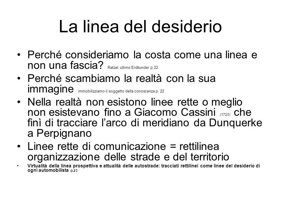 La linea del desiderio Perché consideriamo la costa come una linea e non una fascia Ratzel ultimo Erdkunder p.22.