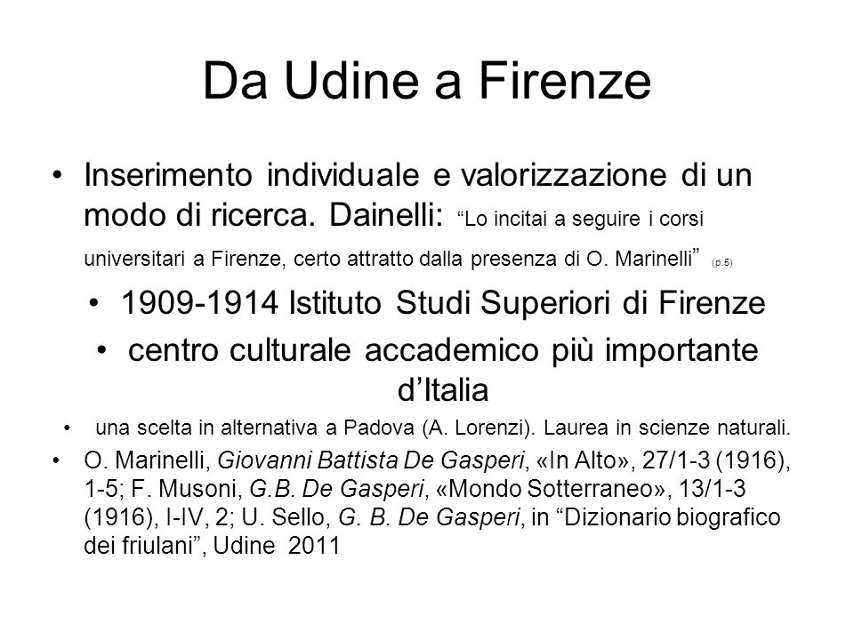 Da Udine a Firenze