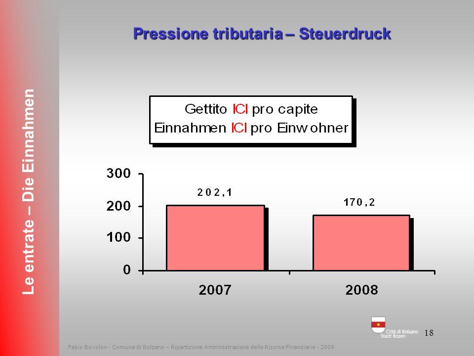 Pressione tributaria – Steuerdruck Le entrate – Die Einnahmen