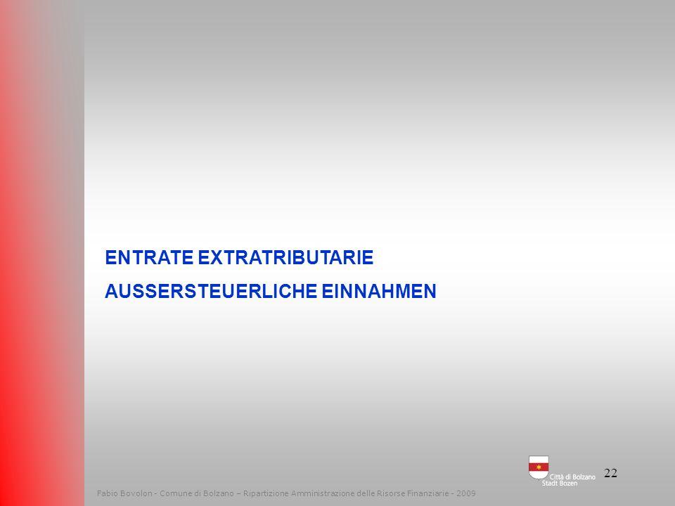 ENTRATE EXTRATRIBUTARIE AUSSERSTEUERLICHE EINNAHMEN