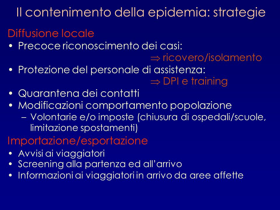 Il contenimento della epidemia: strategie