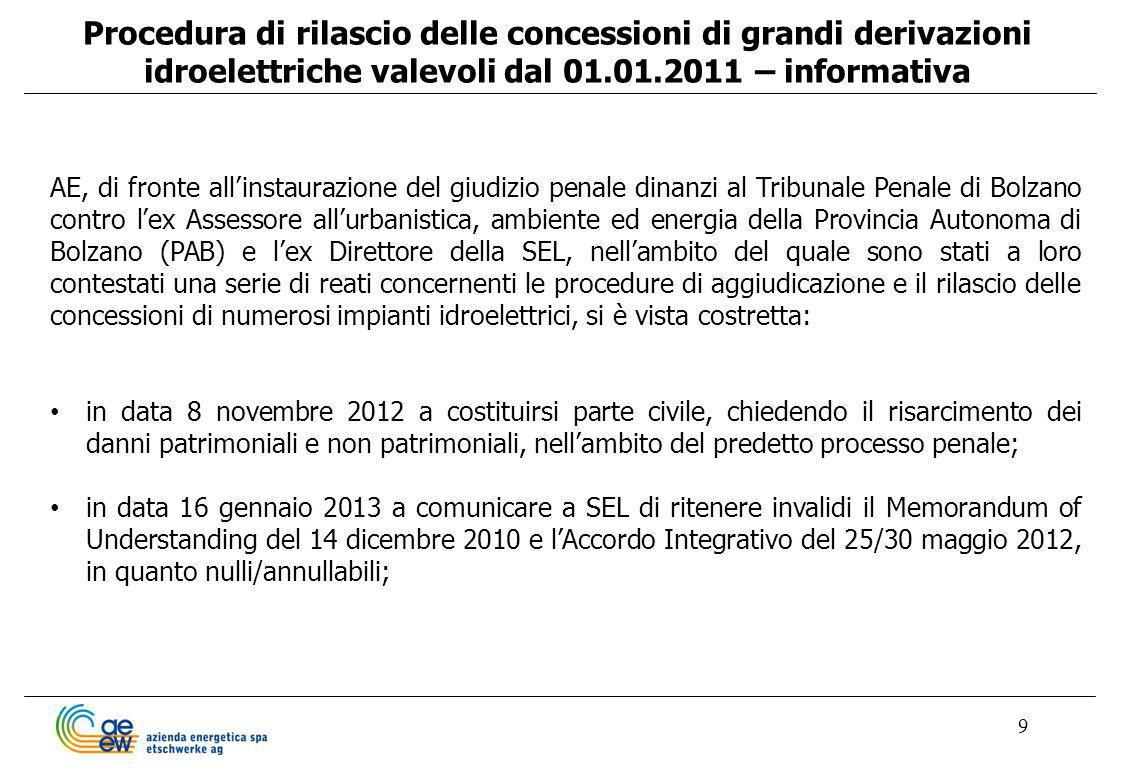 Procedura di rilascio delle concessioni di grandi derivazioni idroelettriche valevoli dal 01.01.2011 – informativa