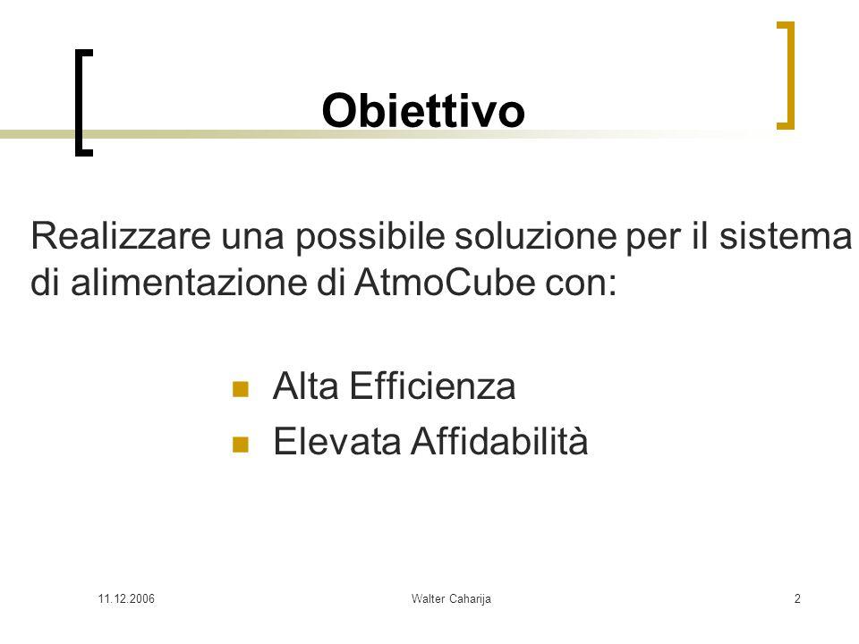 Obiettivo Realizzare una possibile soluzione per il sistema di alimentazione di AtmoCube con: Alta Efficienza.