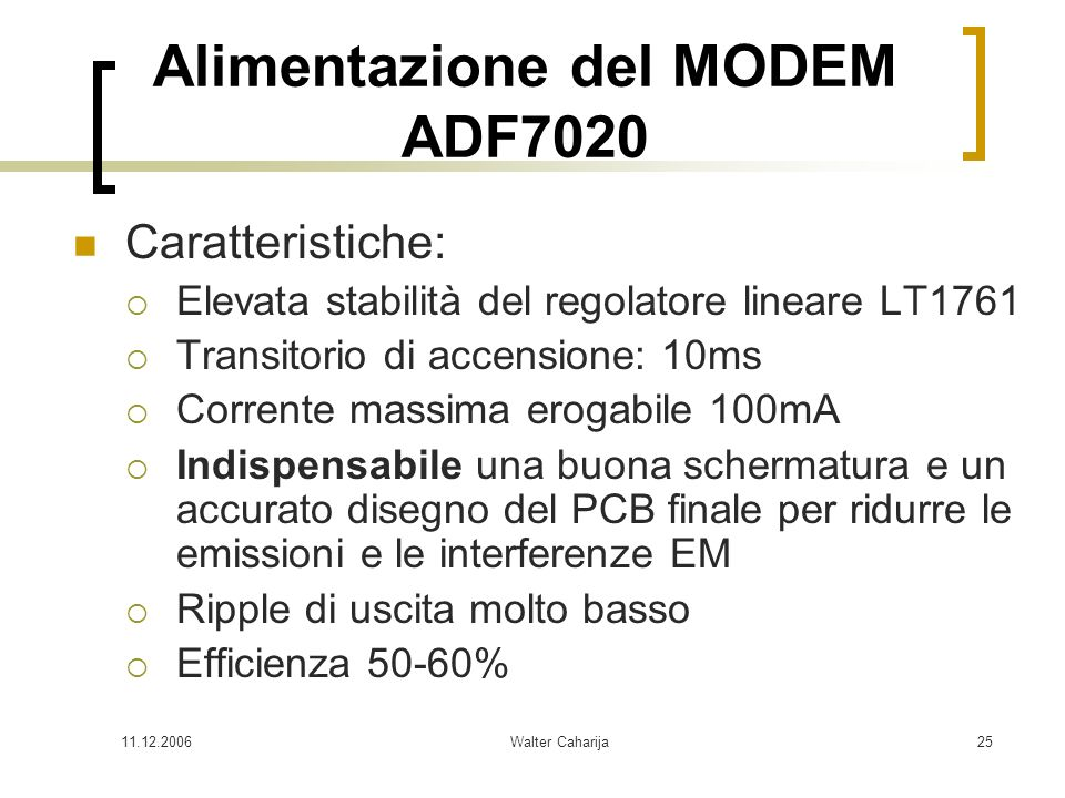 Alimentazione del MODEM ADF7020
