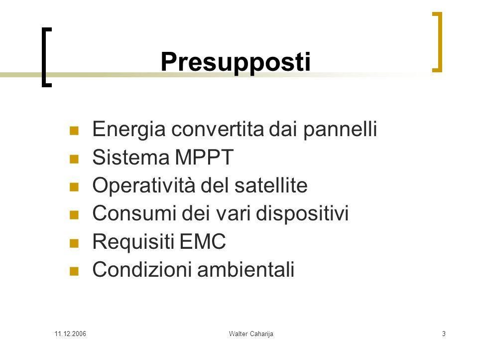 Presupposti Energia convertita dai pannelli Sistema MPPT