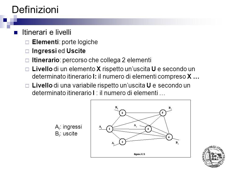 Definizioni Itinerari e livelli Elementi: porte logiche