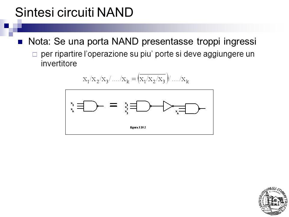 Sintesi circuiti NAND Nota: Se una porta NAND presentasse troppi ingressi.