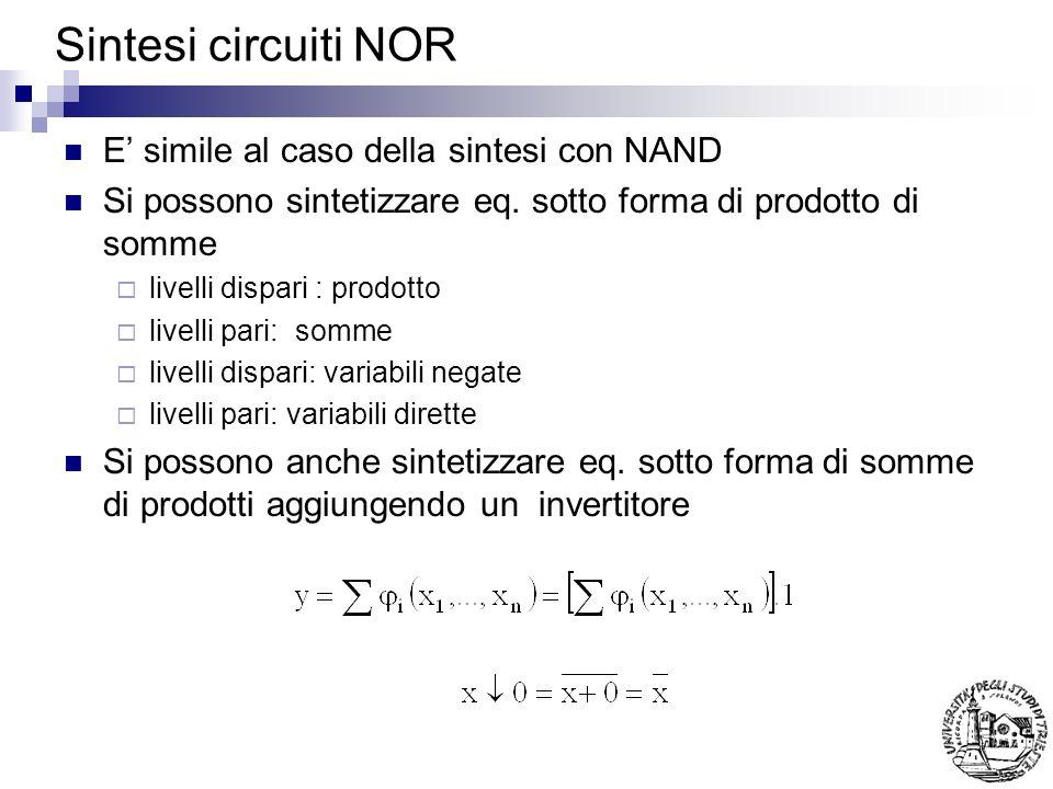 Sintesi circuiti NOR E' simile al caso della sintesi con NAND