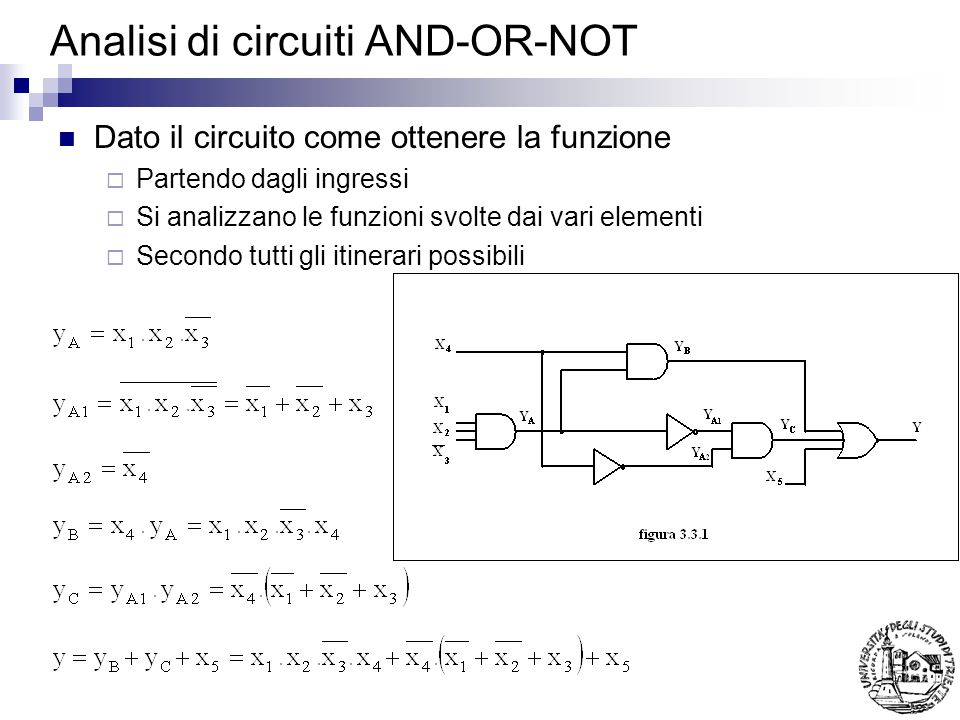 Analisi di circuiti AND-OR-NOT