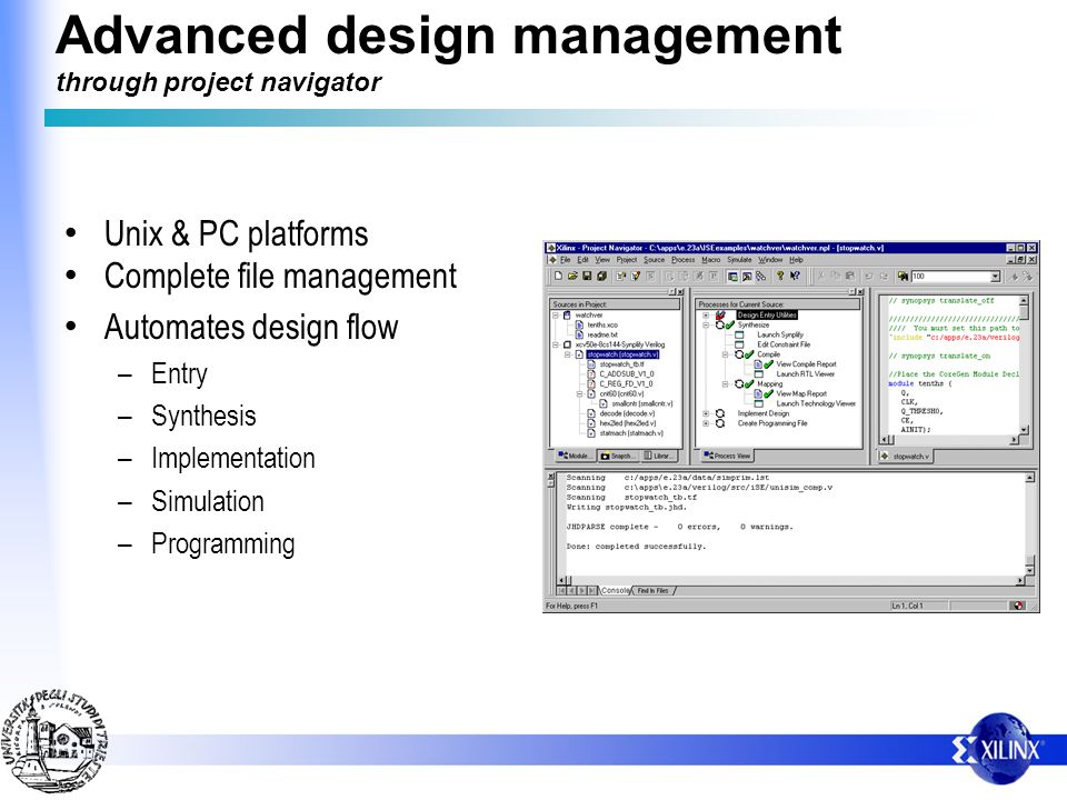 Advanced design management through project navigator