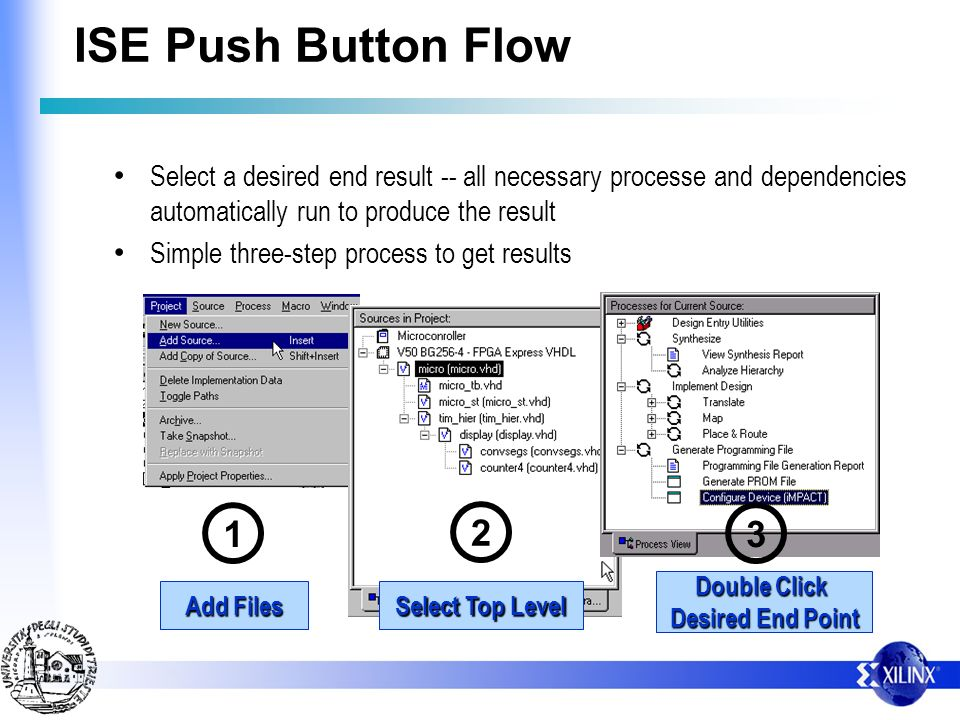 ISE Push Button Flow Select a desired end result -- all necessary processe and dependencies automatically run to produce the result.