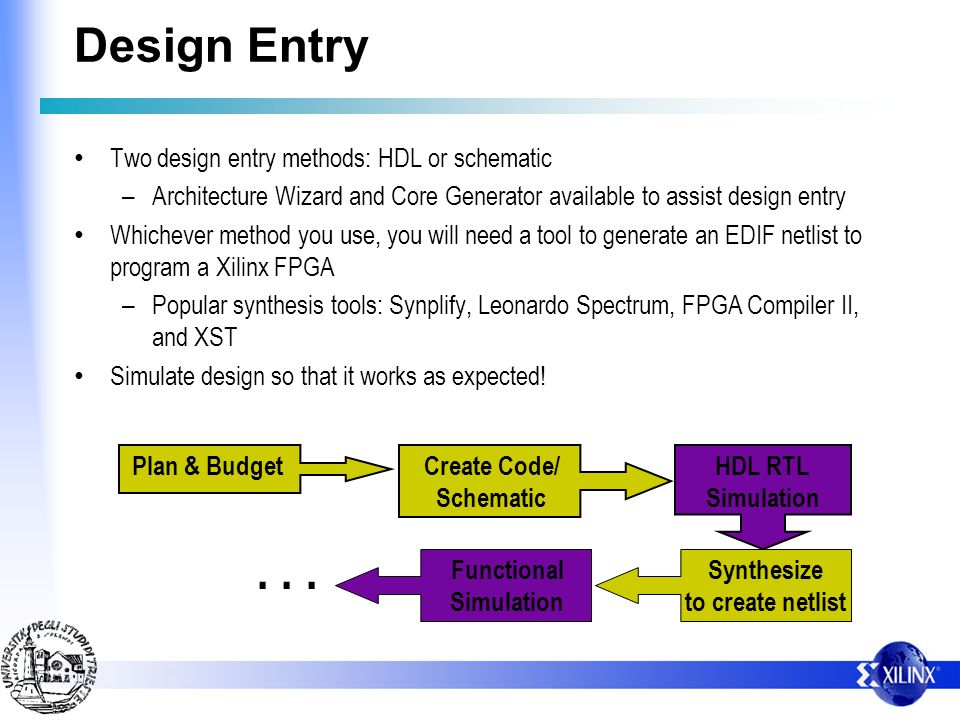 . . . Design Entry Two design entry methods: HDL or schematic