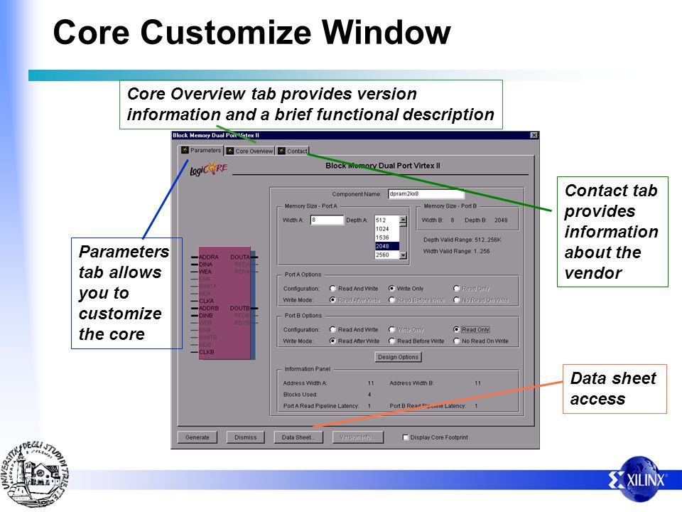 Core Customize Window Core Overview tab provides version information and a brief functional description.
