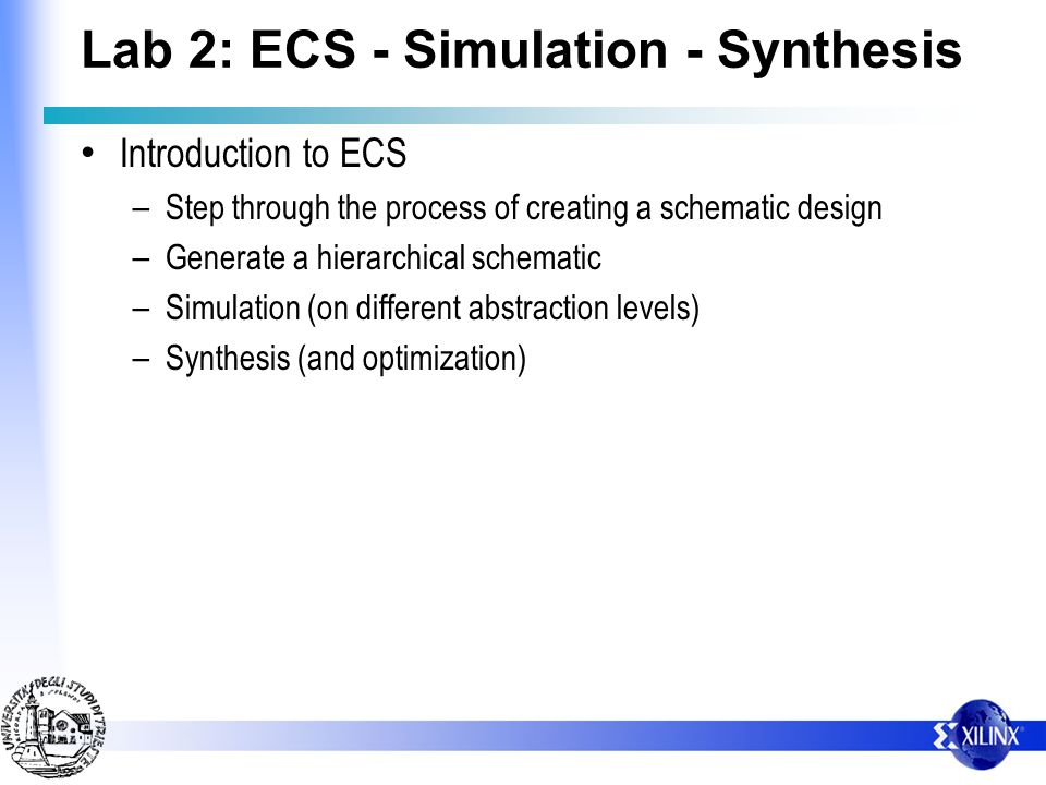 Lab 2: ECS - Simulation - Synthesis