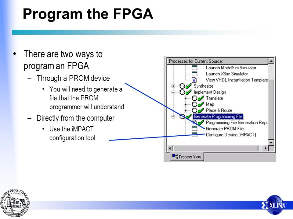 Program the FPGA There are two ways to program an FPGA