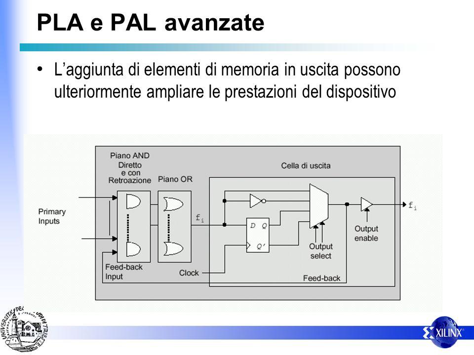 PLA e PAL avanzate L'aggiunta di elementi di memoria in uscita possono ulteriormente ampliare le prestazioni del dispositivo.