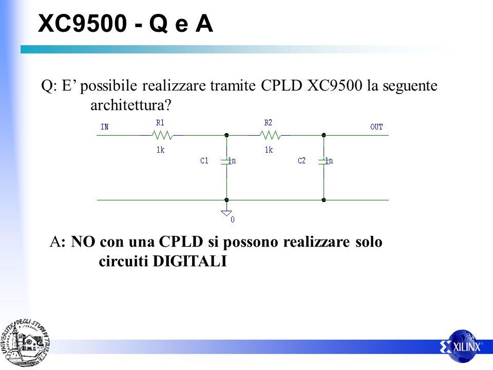 XC9500 - Q e A Q: E' possibile realizzare tramite CPLD XC9500 la seguente. architettura A: NO con una CPLD si possono realizzare solo.