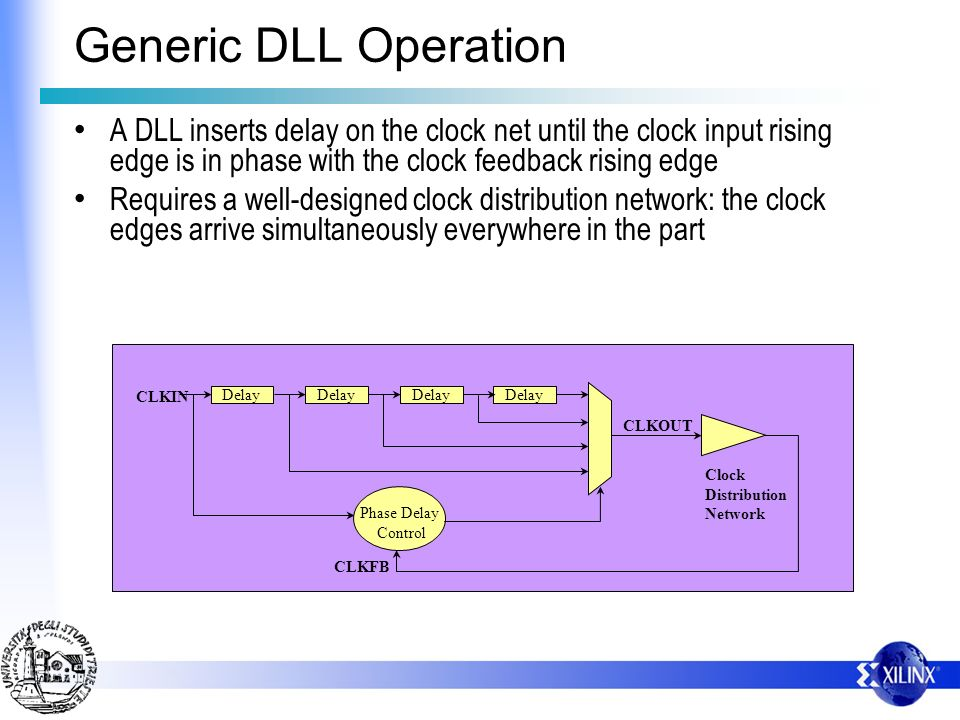 Generic DLL Operation A DLL inserts delay on the clock net until the clock input rising edge is in phase with the clock feedback rising edge.