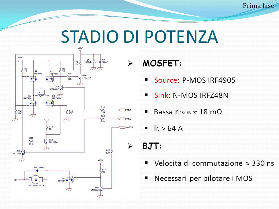 STADIO DI POTENZA MOSFET: Source: P-MOS IRF4905 Sink: N-MOS IRFZ48N