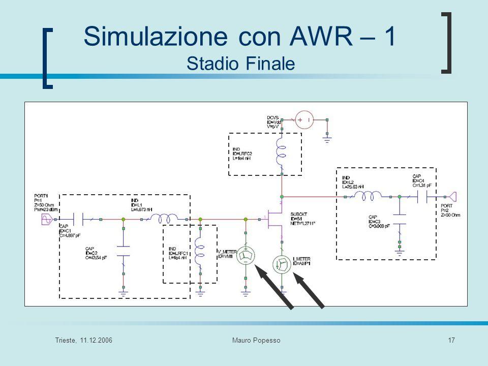 Simulazione con AWR – 1 Stadio Finale