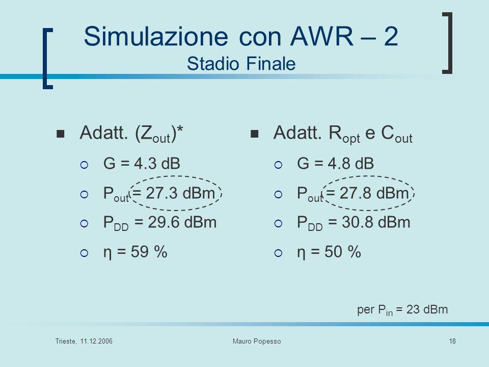 Simulazione con AWR – 2 Stadio Finale