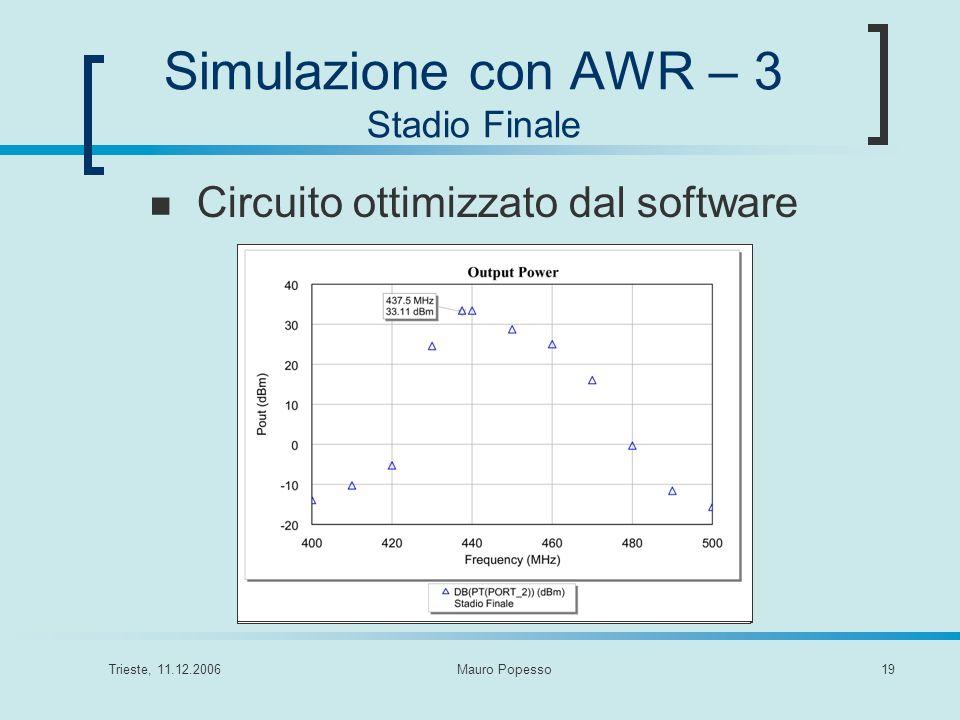 Simulazione con AWR – 3 Stadio Finale
